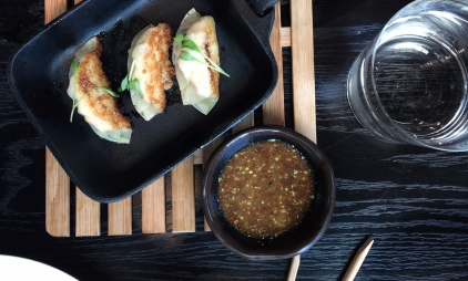 Steamed Prawn & Salmon Gyoza, White Soy, Mustard